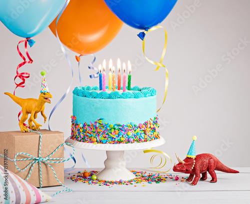 Blue Birthday Cake With Balloons Stockfotos Und Lizenzfreie Bilder