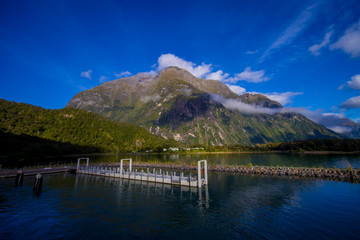 landscape of high mountain glacier at milford sound with a small pier in the lake, in south island in New Zealand
