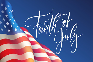 Fourth of July Independence Day poster or card template with american flag. Vector illustration