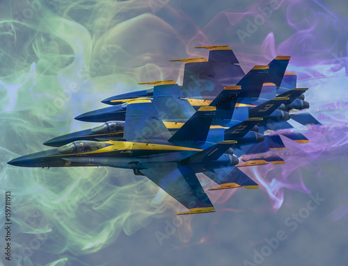 Fotobehang Blue Angels flyby with F18 in Airshow