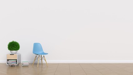 Empty room with white wall and chair,cabinet and plants on floor wooden,3d rendering