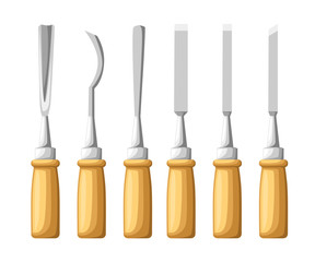Instrument for carving. The chisels set on wood texture. Flat vector illustration