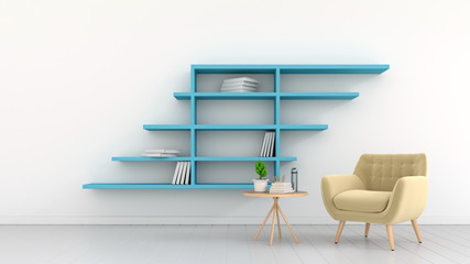 Wide room with armchairs and shelves attached to a white wall,3d rendering