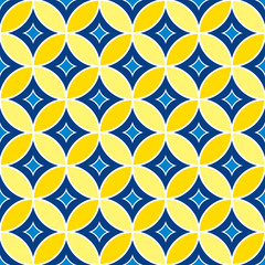 Abstract Geometric Seamless Pattern with Ornament in Blue, Navy and Yellow color.