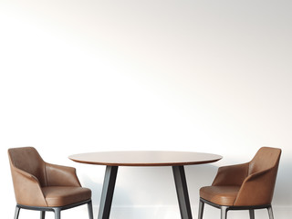 Two chairs and table in bright interior. 3d rendering
