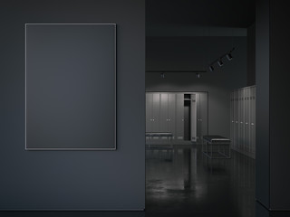 Big black picture frame at the entrance. 3d rendering