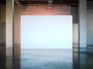 Blank white wall in modern museum. 3d rendering