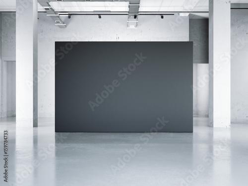Blank black wall in modern museum  3d rendering