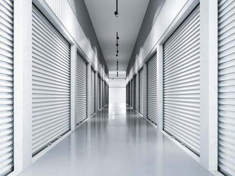 Storage facilities with white doors. 3d rendering