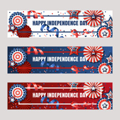 Happy 4th of July, USA Independence Day. Vector banners with paper stars in USA flag colors. Holiday backgrounds set with place for text. Design for greeting card, banner layout, flyer, poster.