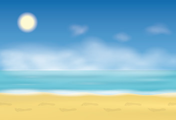 Footprint on the sand. Steps on the beach. Background with sea and blue sky. Vector illustration.