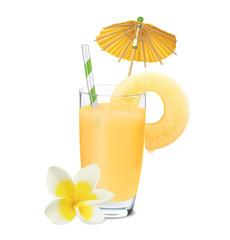 Pineapple juice. Vector illustration