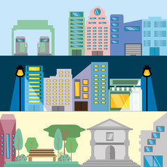 beautiful city with building towers vector illustration