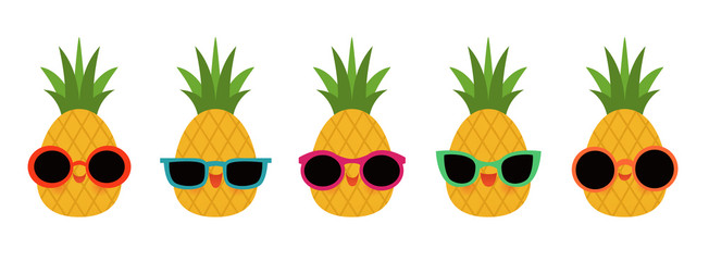 Group of five pineapples wearing different styles of sunglasses.