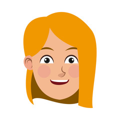 beauty face girl cartoon female avatar vector illustration