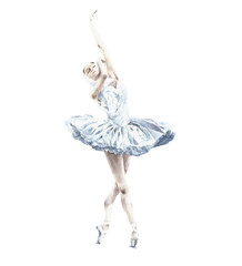 Ballerina dancing ballet Dying swan Swan Lake dancer watercolor painting illustration isolated on white background