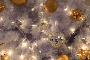 Golden balls in decorations in the coming Christmas season and New Year.