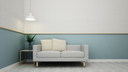 Cafe space interior and wall decoration - 3d rendering