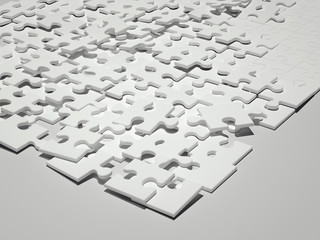White puzzle. 3d rendering