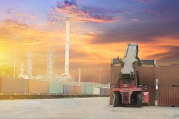 stacker and train in sunset sky background