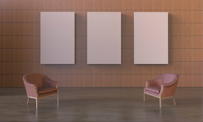 Loft and Modern Display minimal chair and exhibition picture frame on  wood wall Simple Clean / 3d rendering