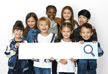Group of Schoolers Kids Holding Search Bar Icon on White Background