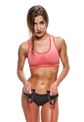 Fitness woman with expander