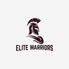 Classic Sparta warrior helmet logo with grunge effect