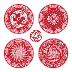 Set Viking shield, decorated with a Scandinavian pattern of dragons and Aegishjalmur, Helm of awe helm of terror , Icelandic magical staves