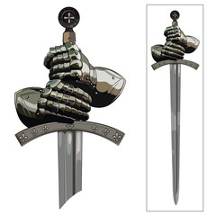 Armour gloves of the knight and the sword of the Crusader