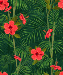 Seamless hand drawn tropical pattern with palm leaves, jungle exotic flower on dark background