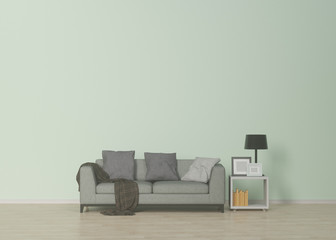 Neutral interior with gray sofa and shelves in empty room,Living-room,model sofa,3D rendering