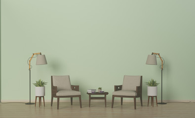 Classic wooden armchair in the living room 3D rendering
