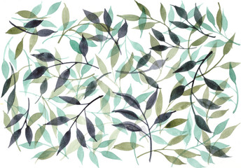 Watercolor floral background with green leaves and branches.