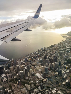Seattle skyline taken from an airplane