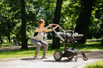 Series photo of happy sporty mother with baby pram workout and warming up bebore jogging in summer park.