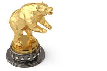 Golden Bear trophy on a white background 3d illustration.