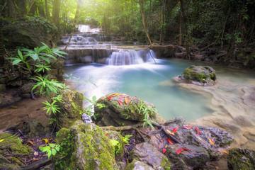 beautiful water fall Huay Mae Khamin Kanchanaburi Thailand