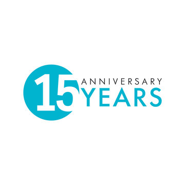 15 years old round logo. Anniversary year of 15 th vector key numbers. Greetings, ribbon, celebrates. Celebrating 1st place , 15th idea. Colored traditional digital logotype of ages or % off.