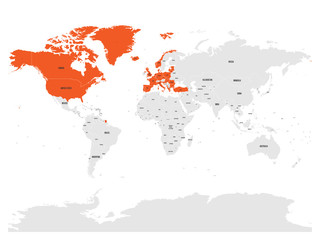 North Atlantic Treaty Organization, NATO, member countries highlighted by orange in world political map. 29 member states since June 2017.