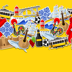 Portugal seamless pattern with stickers. Portuguese national traditional symbols and objects