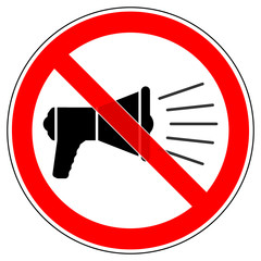srr215 SignRoundRed - german - Verbotszeichen: Megaphone benutzen verboten - english - prohibition sign / megaphone - speaking-trumpet - bullhorn - loud hailer - xxl g5230