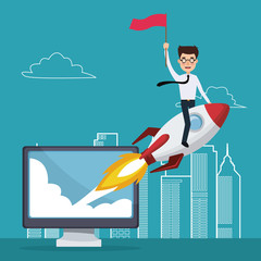blue color background with city landscape silhouette start up business man on a rocket with display computer vector illustration