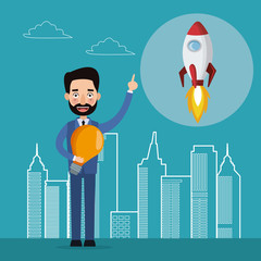 blue color background with city landscape silhouette start up businessman and icon rocket vector illustration