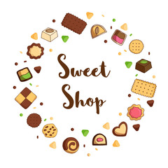 Sweet shop sign with sweets in round composition.
