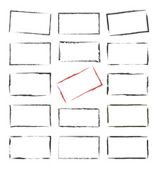Set hand drawn rectangle, felt-tip pen objects. Text box and frames - stock vector Illustration