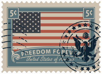 Postage stamp with inscriptions and image of the American flag. Vector illustration of a 5-cent USA stamp with a scratched print.