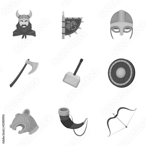 Ancient Warriors Of The Vikings On The Ship Outfit And Symbols Of