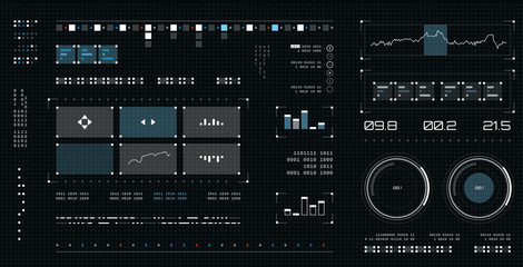 Futuristic user interface. Spaceship screen elements set. Infographic display. Dark color graphic touch screen.