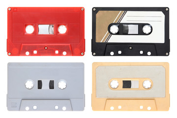 Audio cassettes isolated on background